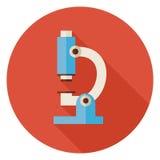 Flache Wissenschaft und Medizin-Labormikroskop-Kreis-Ikone mit Stockfotos