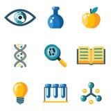 Flache Wissenschaftsbildungsforschungsstudien-Netzikonen Stockbilder