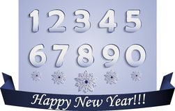 Flache Zahlen und Schneeflocken lizenzfreie abbildung
