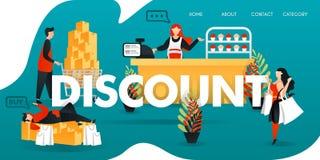 flache Zeichentrickfilm-Figur Vektorillustration für Geschäft und Marketing Leute, die kaufen zu viel für das Erhalten des RABATT stock abbildung