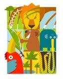 Flacher afrikanischer Tier-Symbol-Satz Stockbild
