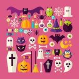 Flacher Art-Vektor-großer Satz von Halloween-Feiertag Gegenständen und Eleme Stockfoto