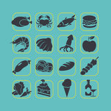 Flacher Artlebensmittel-Ikonensatz Stockbild