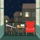 Flacher Balkon mit Teleskop, Stuhl und Notizbuch Auch im corel abgehobenen Betrag Lizenzfreies Stockbild