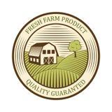 Flacher Bauernhoflogoaufkleber und -Design werden natürlichen Produktionsweinlese-Emblemvektor deutlich Stockbild