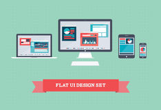 Flacher Benutzerschnittstellen-Entwurfssatz Stockbilder