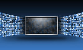 Flacher Bildschirm Fernsehüberwachungsgerät mit dem Strömen von Bildern Lizenzfreies Stockfoto