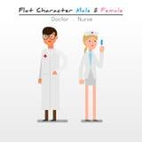 Flacher Charakter-Doktor, Krankenschwester lizenzfreie stockfotografie