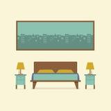 Flacher Design-Schlafzimmer-Innenraum Lizenzfreie Stockbilder
