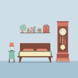 Flacher Design-Schlafzimmer-Innenraum Lizenzfreies Stockfoto