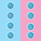 Flacher Design Tropfen-Wasser Emoticon stellte mit langem Schatten, für Wasserkampagnen-Projektdesign oder persönlichen Grafikdes Stockfotografie