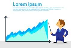 Flacher Design-Vektor Geschäftsmann-Cartoon Show Graphs Lizenzfreies Stockfoto