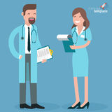 Flacher Designdoktor und -krankenschwester Lizenzfreies Stockfoto