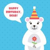 Flacher Designeisbär mit Blumenillustration Bunte Geburtstagsgrußkarte mit nettem weißem Bären Lizenzfreie Stockbilder