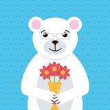 Flacher Designeisbär mit Blumenstrauß der Blumenillustration Bunte Grußkarte mit nettem weißem Bären Stockbilder