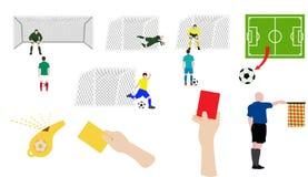 Flacher Designfußballsatz Stockfotos