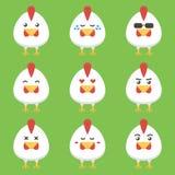 Flacher Designhahn- oder -hühnerkarikaturzeichensatz Stockfoto
