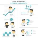 Flacher Designsatz Geschäftsmann-Infographic-Elemente, Mann mit Glühlampe, Smartphone, Wachstum, Karikatur der Strategie 4p Lizenzfreie Stockfotografie