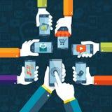 Flacher Designvektor bewegliches apps Konzept mit Netzikonen Stockfotos