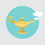 Flacher Designvektor der goldenen Wunderlampe Stockfoto