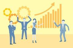 Flacher Designvektor des Geschäfts mit einem Team, das Erfolg feiert und eine Wachstumstabelle zeigt lizenzfreie abbildung