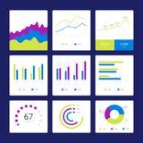 Flacher Diagramm- und Diagrammvektorsatz lizenzfreie stockfotografie