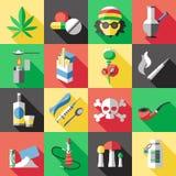 Flacher Drogen-Ikonen-Satz lizenzfreie abbildung