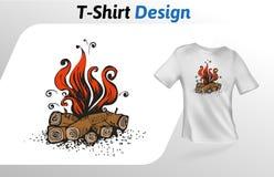 Flacher Druck T-Shirt des Karikaturfeuers Spott herauf T-Shirt Designschablone Vektorschablone, lokalisiert auf weißem Hintergrun Lizenzfreies Stockbild