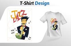Flacher Druck T-Shirt des Saxophonspielers Spott herauf T-Shirt Designschablone Vektorschablone, lokalisiert auf weißem Hintergru Lizenzfreies Stockbild