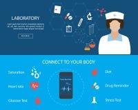 Flacher entworfener medizinischer Fahnensatz Lizenzfreie Stockfotos