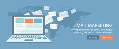 Flacher Fahnensatz Internet-Handel und E-Mail-Marketing illustrati stockfotos