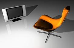Flacher Fernsehapparat - LCD und Sitz Stockfotografie