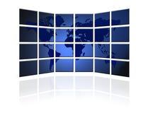 Flacher Fernsehschirm mit Weltkarte Stockbilder