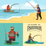 Flacher Fischerhut sitzt auf Ufer mit Angelrute in der Hand und fängt Eimer und Netz, Fishman häkelte Drehbeschleunigung in Stockbilder