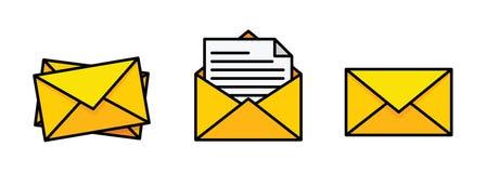 Flacher gelber Umschlag Postikone eingestellt in flache Art - Vektor auf Lager lizenzfreie abbildung