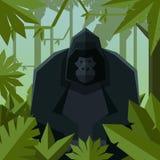 Flacher geometrischer Dschungelhintergrund mit Gorilla Lizenzfreie Stockbilder