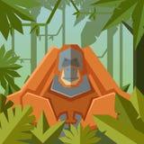 Flacher geometrischer Dschungelhintergrund mit Orang-Utan Stockbild