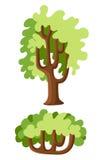 Flacher grüner Baumillustrationssatz Steinkiefer, Fichte, Ahorn, Birke, Zeder, Eiche, Brachychiton, Bantambaum, Weide, Lärche, Pa stock abbildung