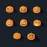 Flacher Halloween-Kürbis Stockbilder