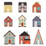 Flacher Haus-Ikonensatz Stockbilder