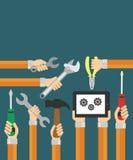Flacher Hintergrund der Erbauer mit der Hand Moderner Vektor Lizenzfreies Stockbild