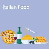 Flacher Hintergrund des italienischen Lebensmittels Lizenzfreies Stockbild