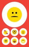 Flacher Ikone Emoji-Satz von missfallen, Lachen, schielendes Gesicht und andere Vektor-Gegenstände Schließt auch Brillen, Stille  Lizenzfreies Stockfoto