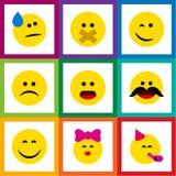 Flacher Ikone Emoji-Satz von nettem, von Rissen, von Liebkosung und von anderen Vektor-Gegenständen Schließt auch Stirnrunzeln, S Lizenzfreie Stockfotos