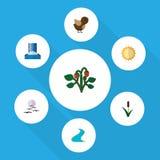 Flacher Ikonen-Ökologie-Satz Vogel, Solar, Cattail und andere Vektor-Gegenstände Schließt auch Reed, Cattail, Vogel-Elemente mit  Lizenzfreie Stockbilder