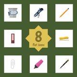 Flacher Ikonen-Ausrüstungs-Satz Versorgungen, Trashcan, Dossier und andere Vektor-Gegenstände Schließt auch Zeichnung, Schreiben, Stockbild