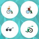 Flacher Ikonen-Behindert-Satz Schauspiele, Rollstuhl, Ausrüstung und andere Vektor-Gegenstände Schließt auch behindertes mit ein Stockbild
