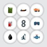 Flacher Ikonen-Brennstoff-Satz Treibstoff, Flansch, Brennstoff-Kanister und andere Vektor-Gegenstände Schließt auch Gas, Boot, fl lizenzfreie abbildung