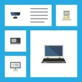 Flacher Ikonen-Computer-Satz Datenverarbeitung, Notizbuch, PC und andere Vektor-Gegenstände Schließt auch Schirm, PC, Anzeigen-El Stockfotos