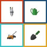 Flacher Ikonen-Datscha-Satz Pumpe, Rasenmäher, Bürge und andere Vektor-Gegenstände Schließt auch Schneider, Werkzeug, Mäher-Eleme Stockbild